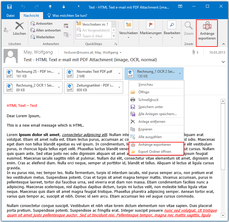 ATEX – MS-Outlook Plugin – Export attachments convenient