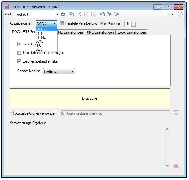 PDF2DOCX - PDF to DOCX, RTF, HTML, XML, TXT und XLS