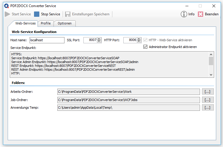 PDF2DOCX–CS Converter Service MS-Windows Service with REST / SOAP